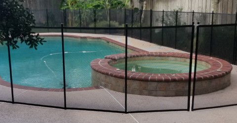 105ft installed black pool fence in Lafayette, Louisiana