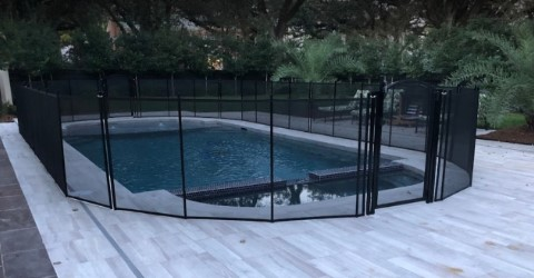 black Life Saver Pool Fence with Arched Gate in Ocean Springs